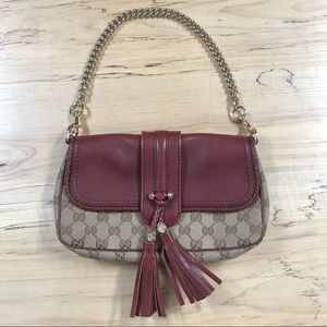 Gucci logo print burgundy red clutch/ shoulder bag